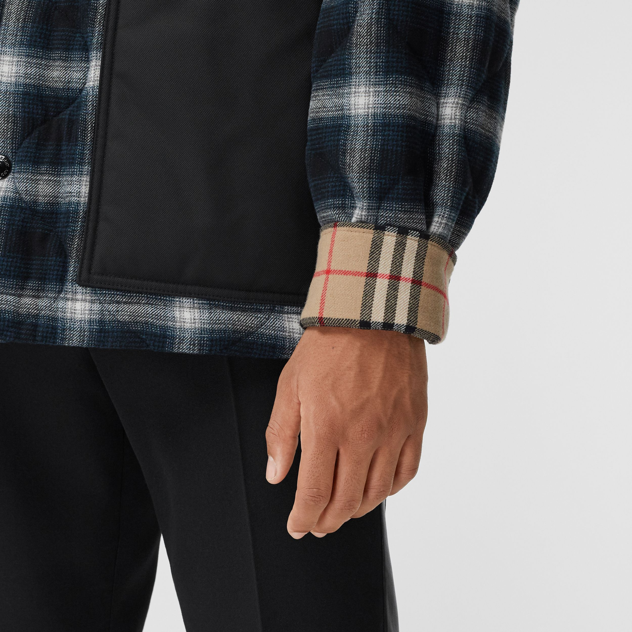 Contrast Pocket Check Wool Cotton Overshirt in Black - Men | Burberry United States - 3