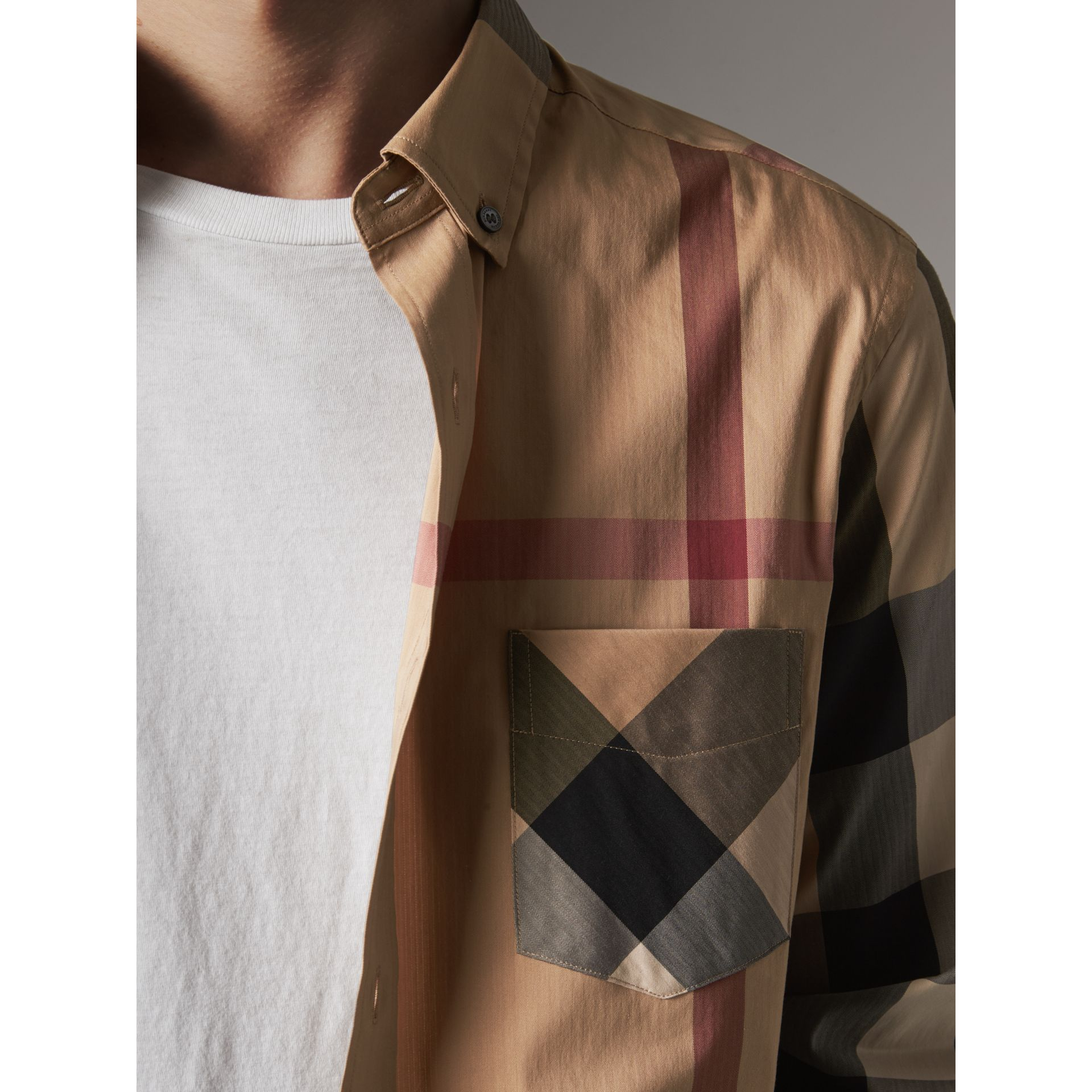Button-down Collar Check Stretch Cotton Blend Shirt in Camel - Men | Burberry - gallery image 2