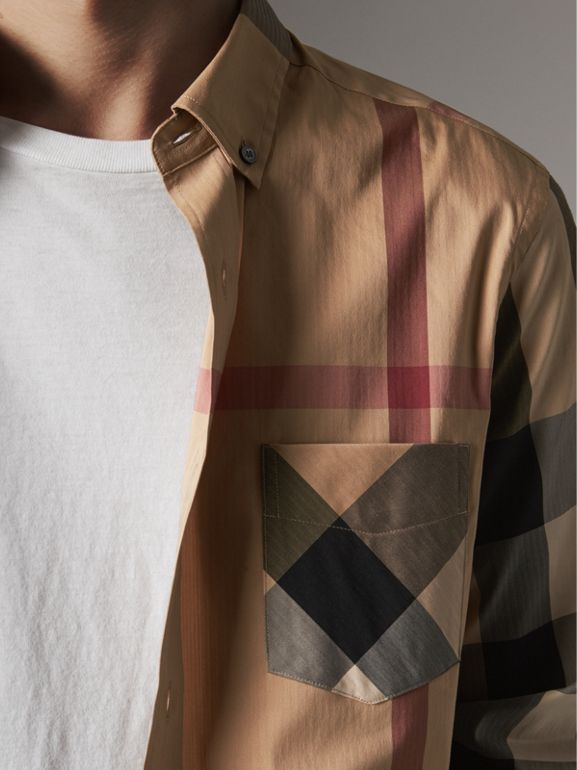 Button-down Collar Check Stretch Cotton Blend Shirt in Camel - Men | Burberry - cell image 1