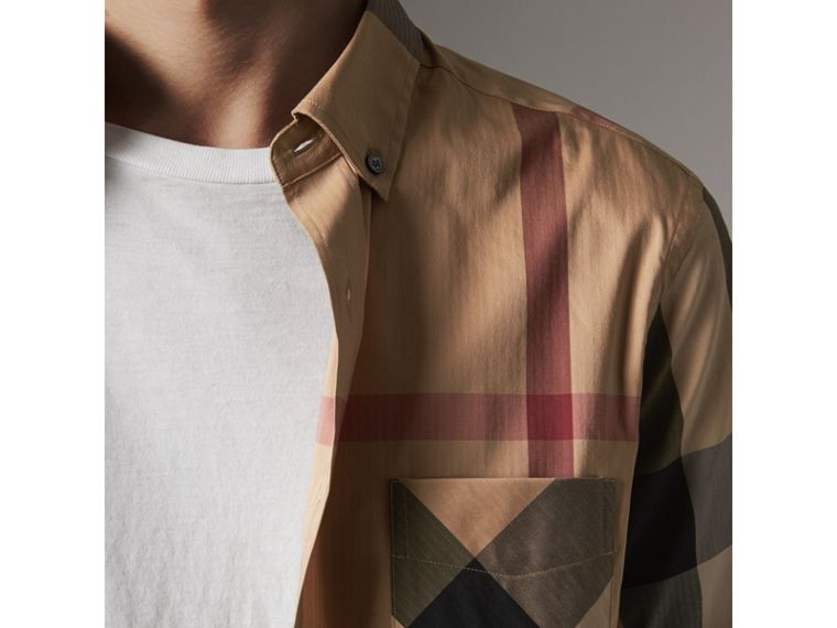 Button-down Collar Check Stretch Cotton Blend Shirt in Camel - Men | Burberry Canada - cell image 1