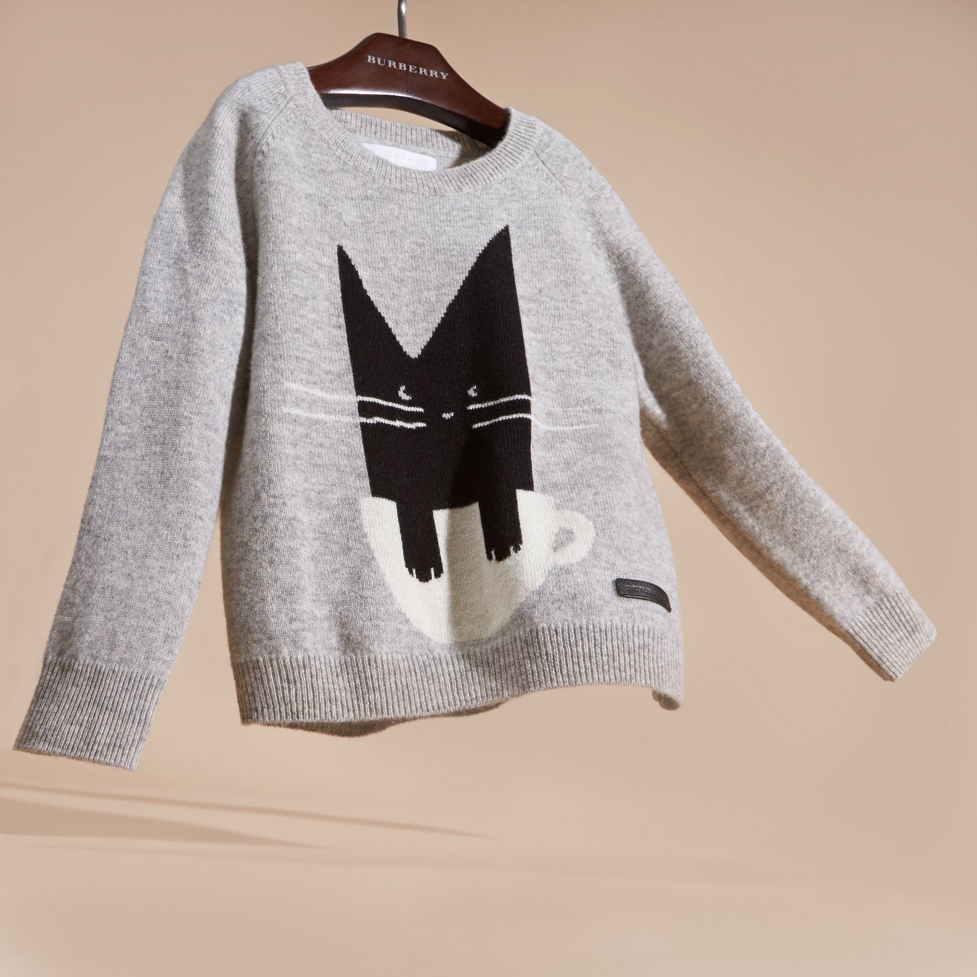Light grey melange Cat Intarsia Cashmere Sweater - gallery image 3