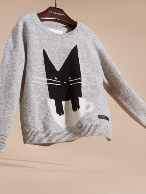 Light grey melange Cat Intarsia Cashmere Sweater - cell image 2