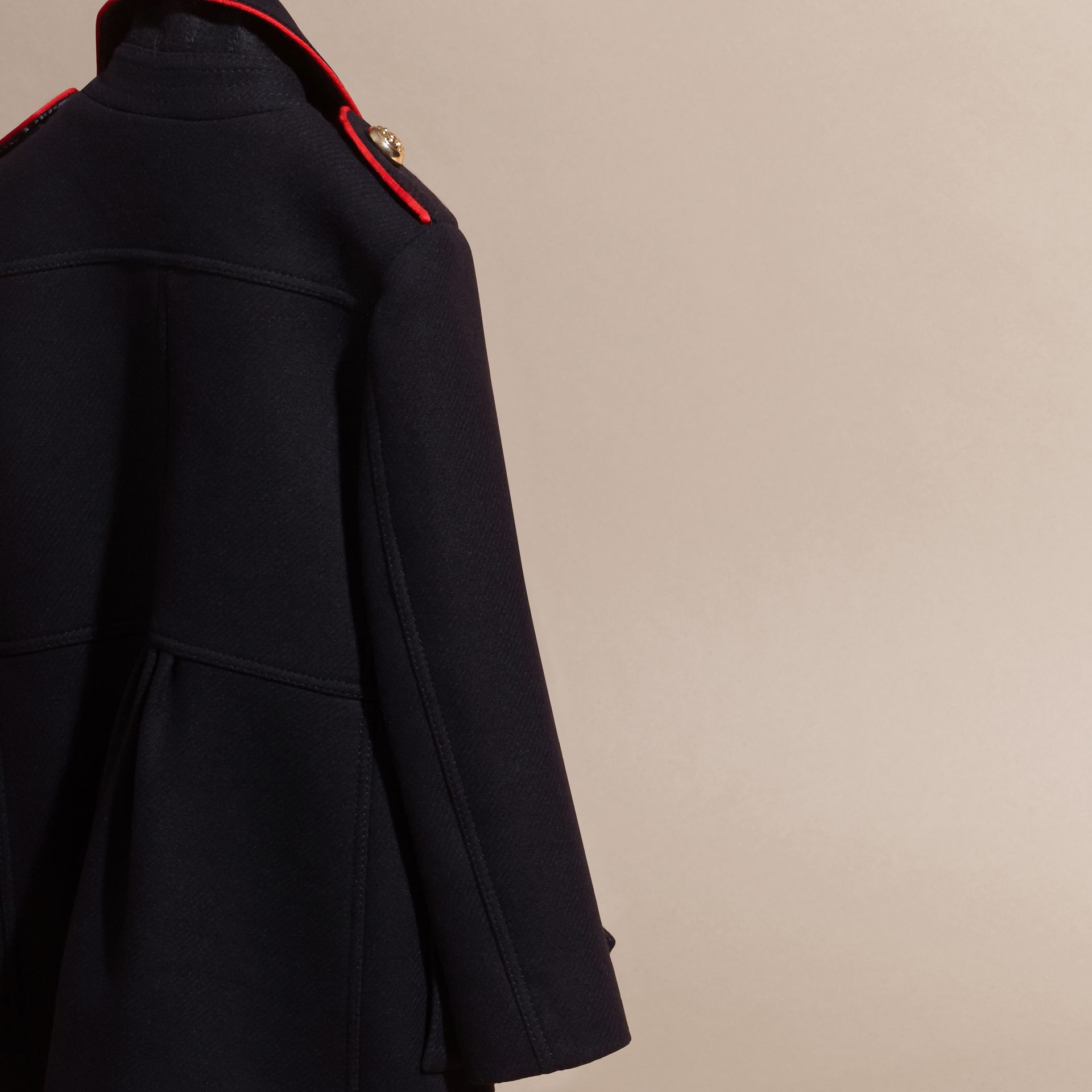 Navy Regimental Detail Wool Cashmere Blend Coat - gallery image 4
