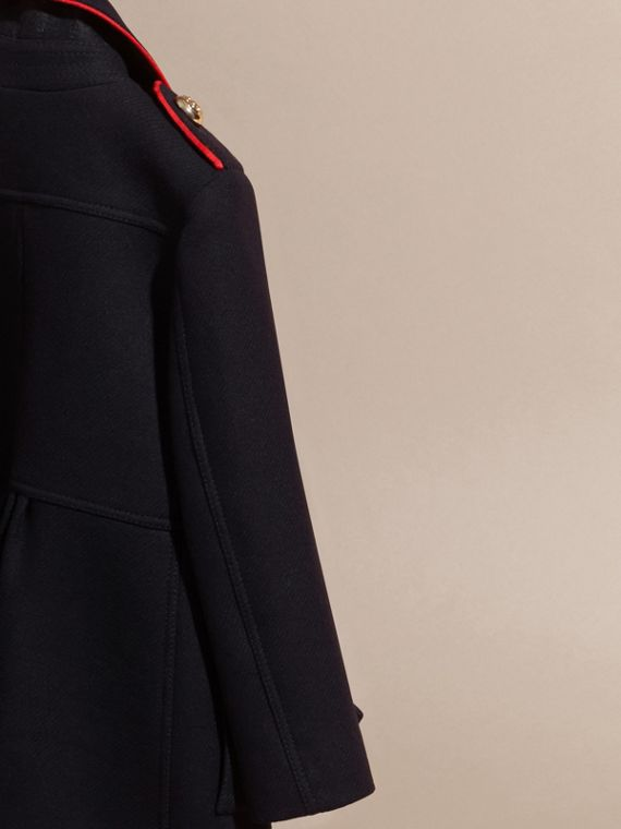 Navy Regimental Detail Wool Cashmere Blend Coat - cell image 3