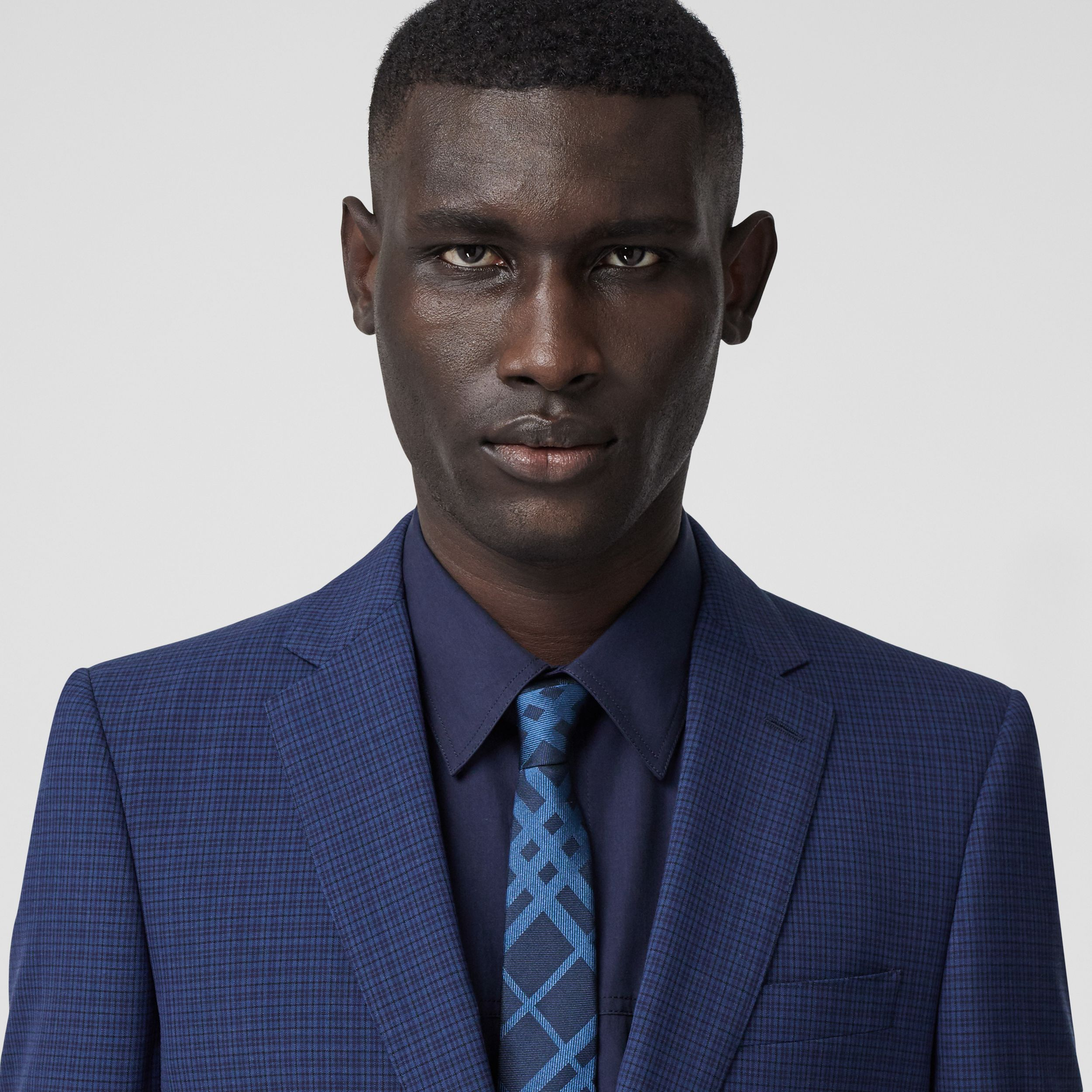 Classic Cut Check Silk Jacquard Tie in Ink Blue - Men | Burberry - 3