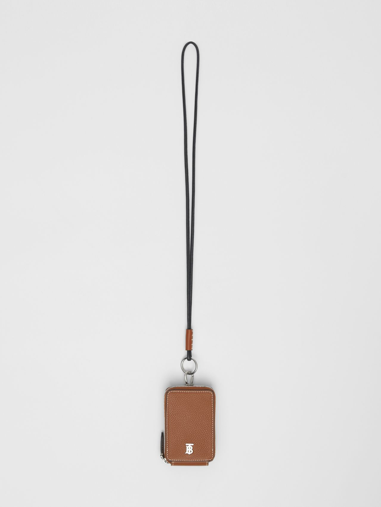 Grainy Leather Card Case Lanyard in Tan