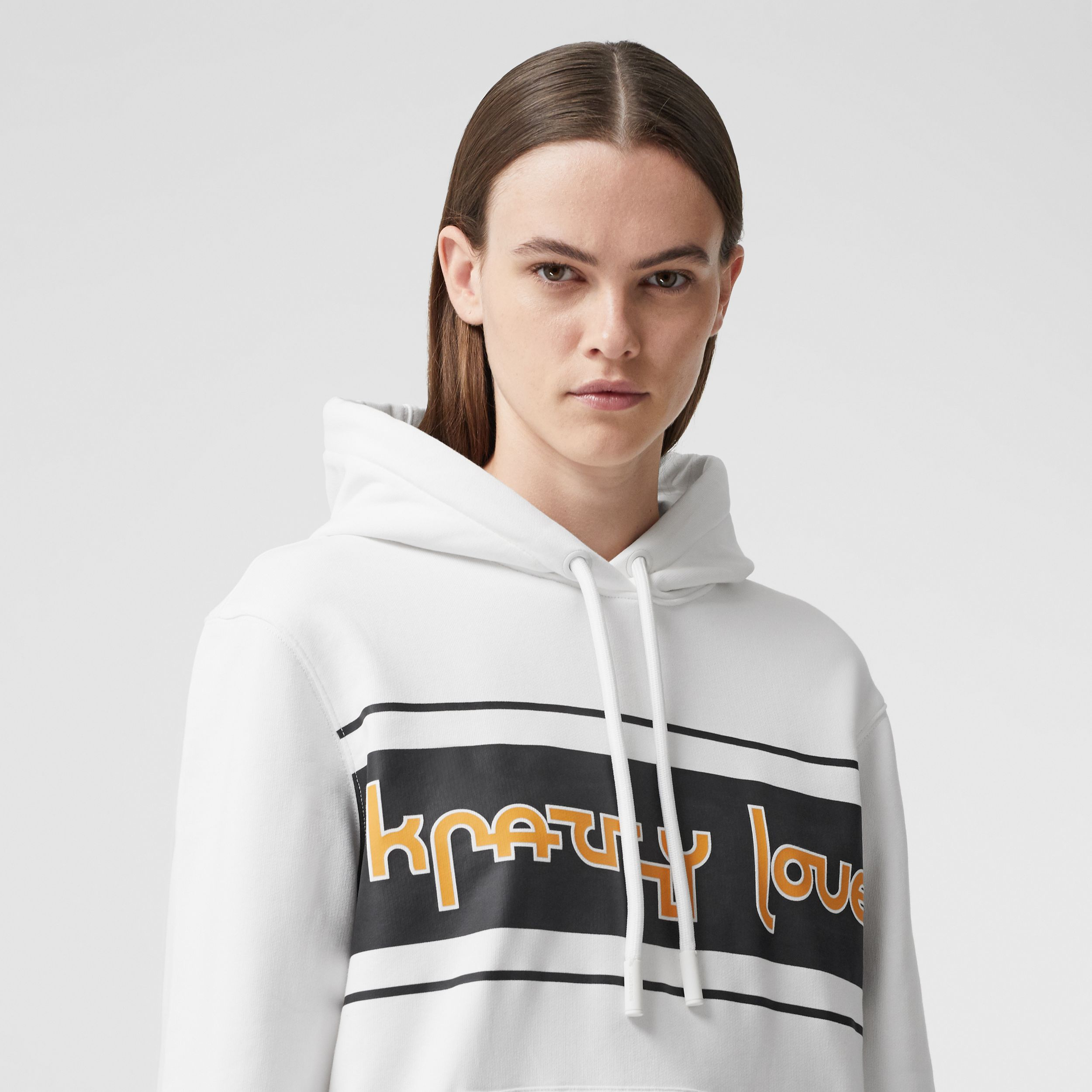 Slogan Print Cotton Oversized Hoodie in White - Women | Burberry - 2