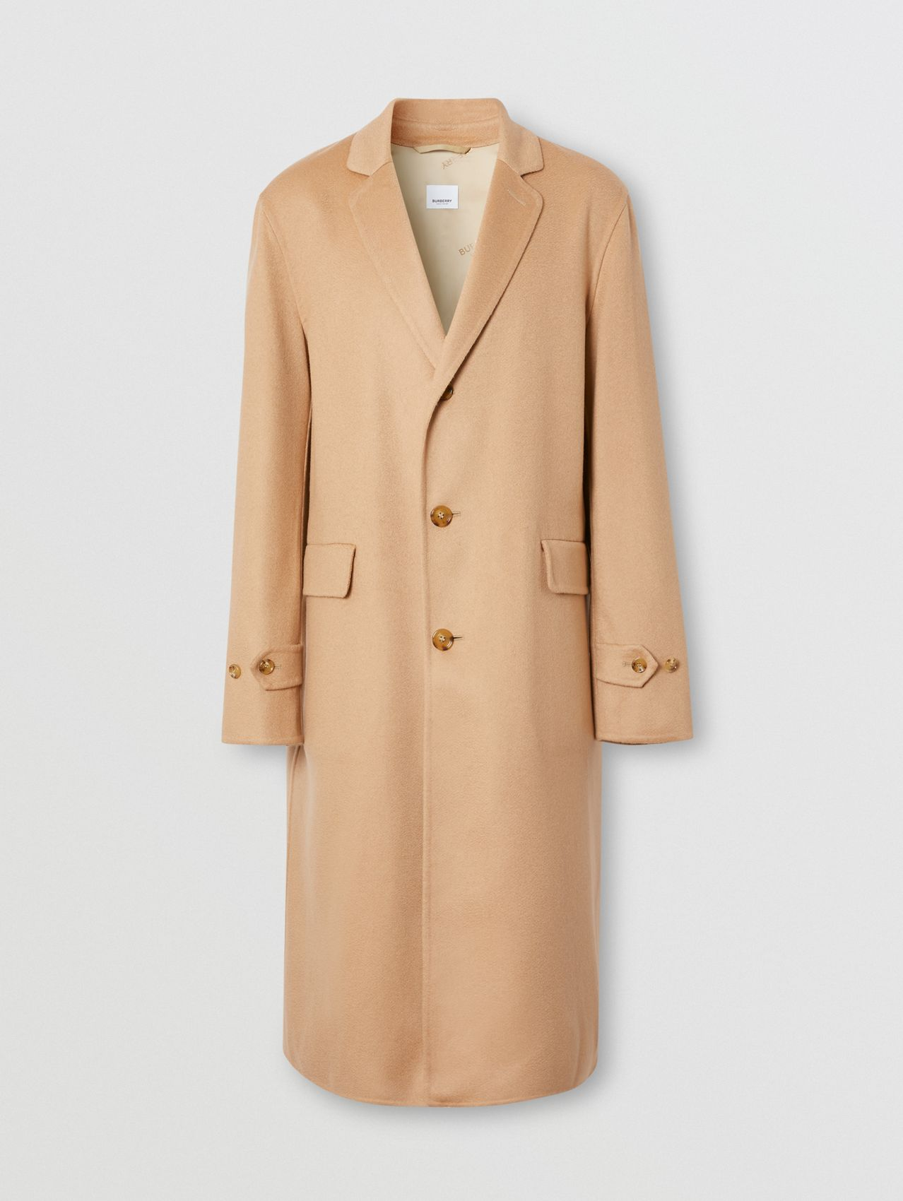 Contrast Check Wool Cotton Trench Coat in Dark Honey
