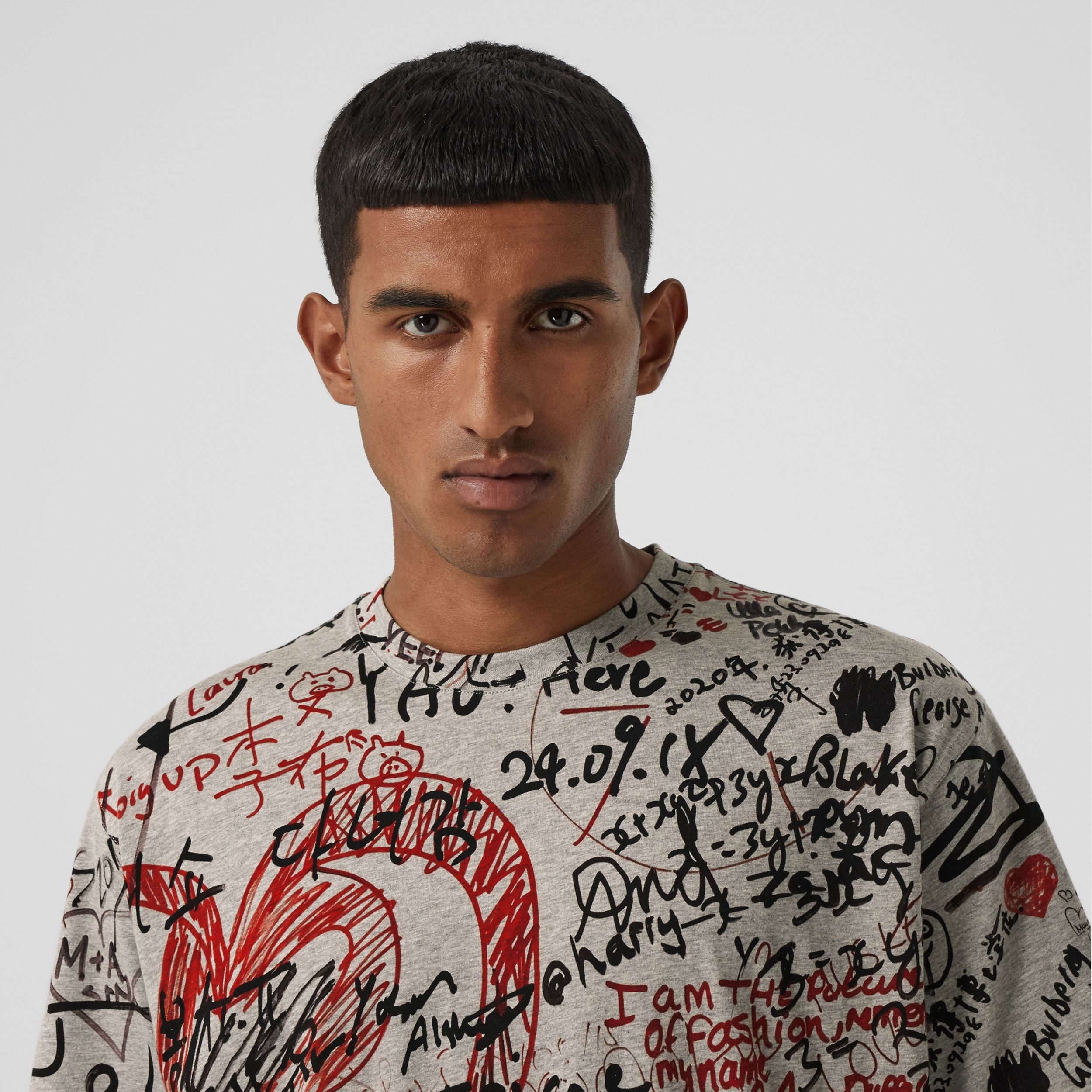 Graffiti Print Oversized T-shirt in Pale Grey Melange - Men | Burberry - 2