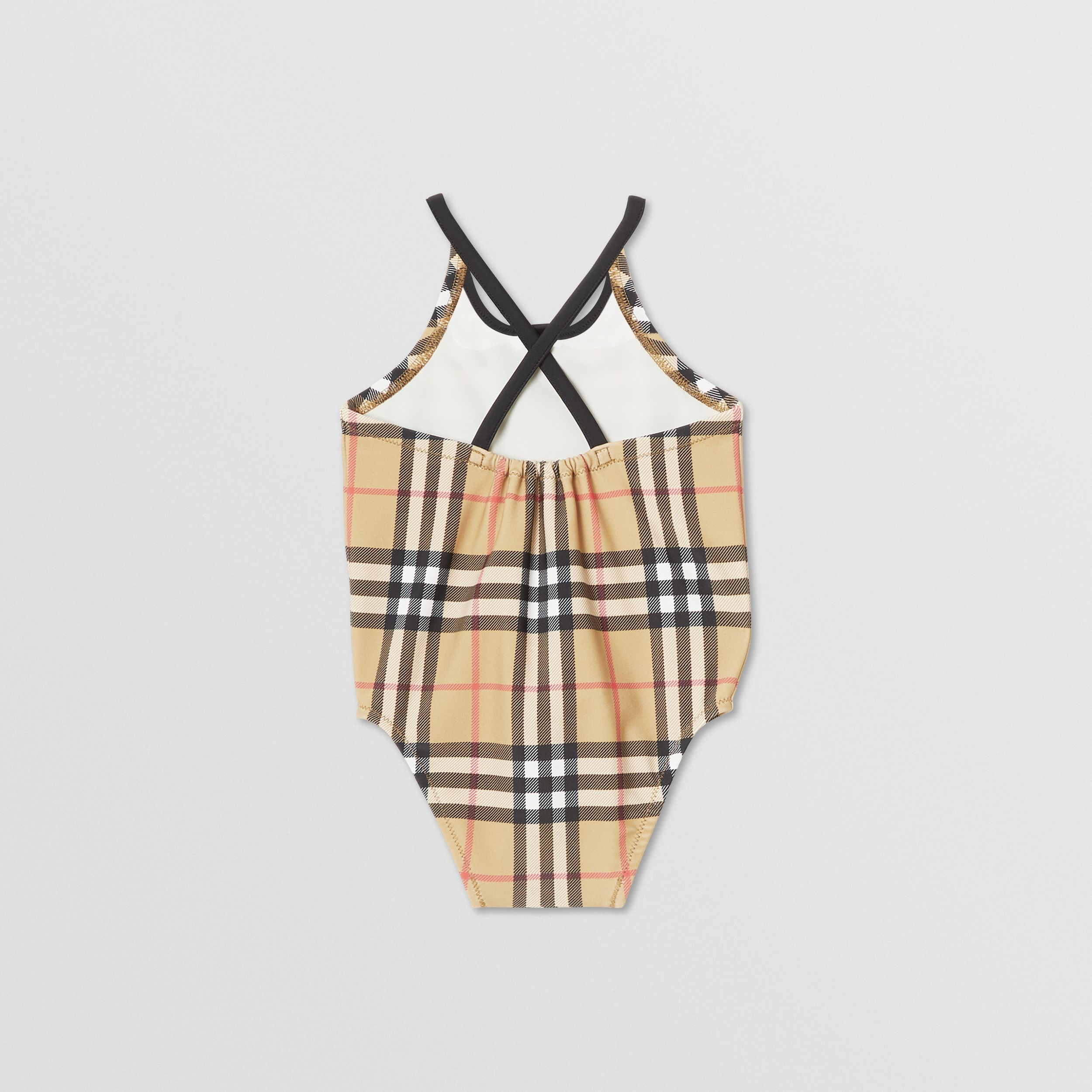 Vintage Check Recycled Nylon Swimsuit in Archive Beige - Children | Burberry - 4