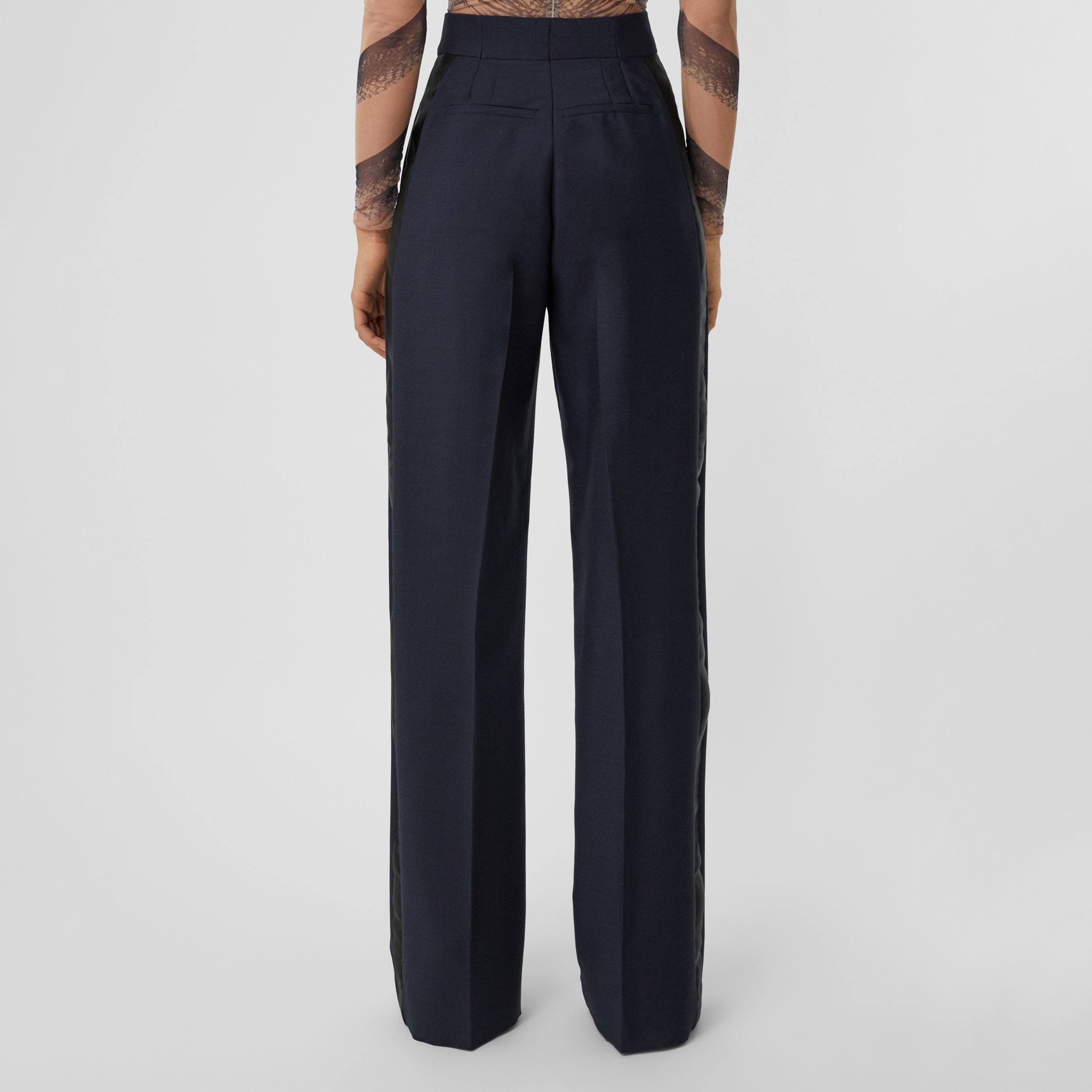 Side Stripe Mohair Wool Wide-leg Trousers in Dark Navy - Women | Burberry - 3