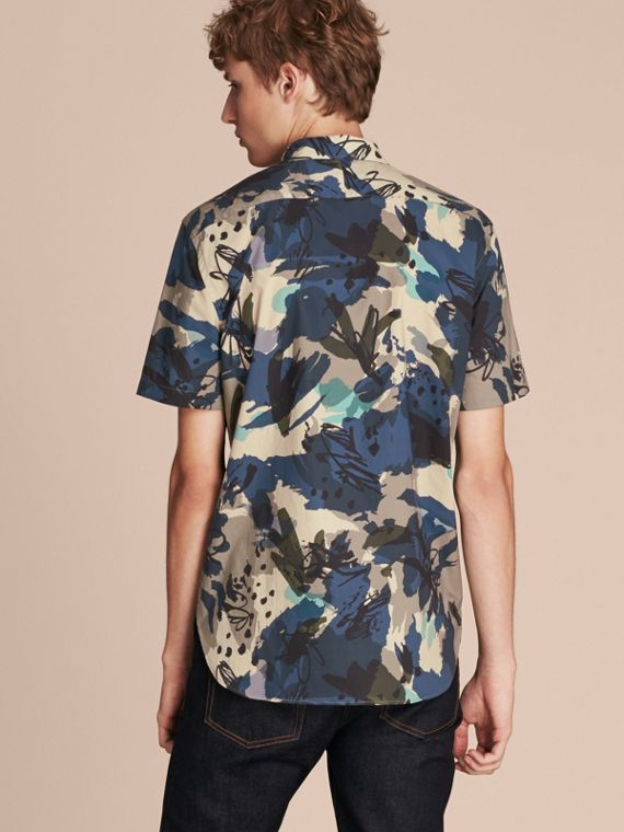 Bright navy Short-sleeved Abstract Print Cotton Poplin Shirt - cell image 2