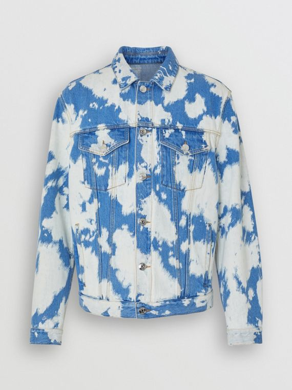 Monogram Motif Bleached Denim Jacket in Light Indigo