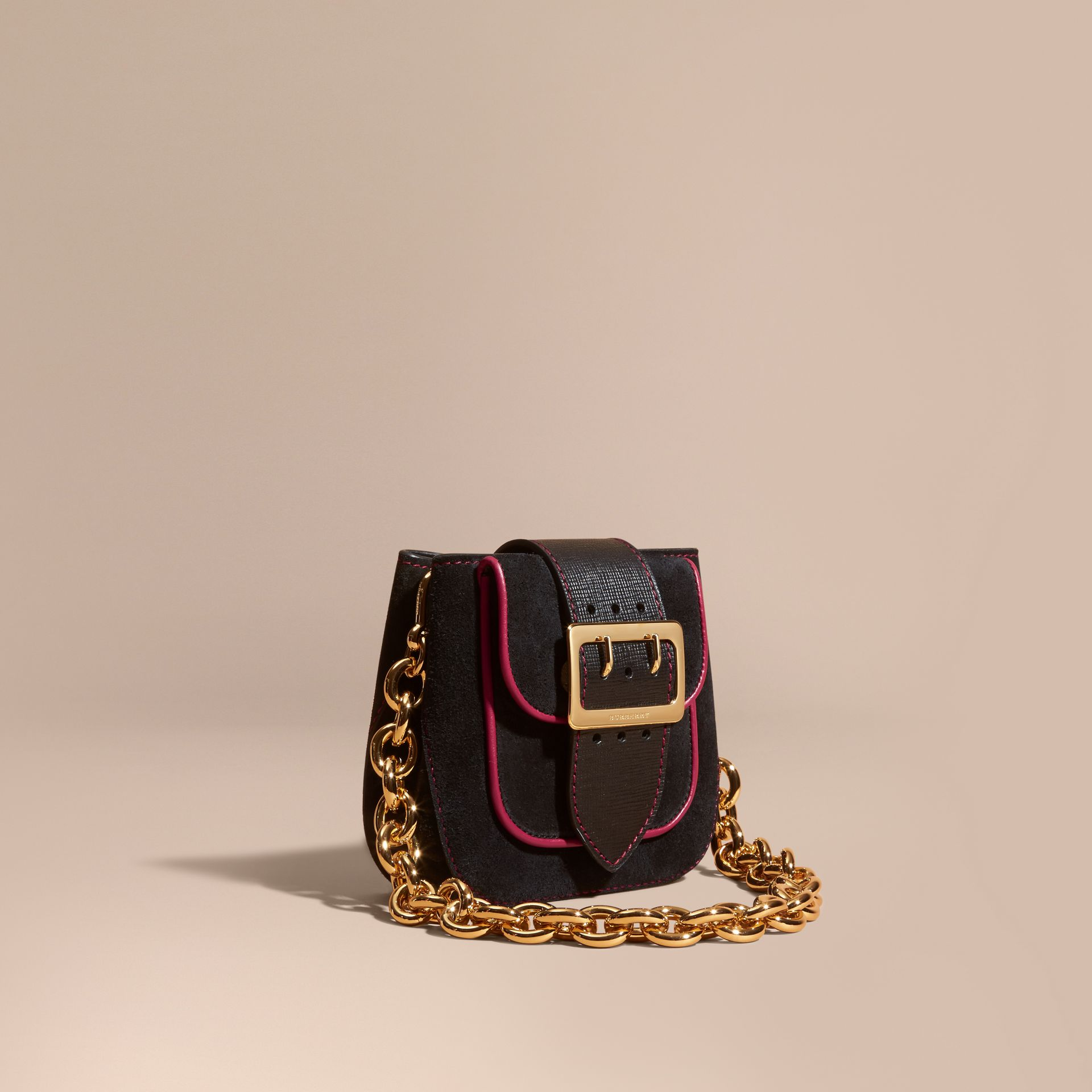 Black The Small Square Buckle Bag in Suede and Leather Black - gallery image 1