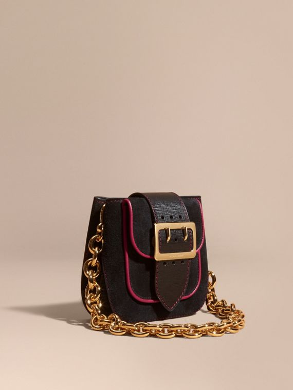 The Small Square Buckle Bag in Suede and Leather Black