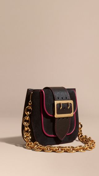 Sac The Buckle carré en cuir velours et cuir