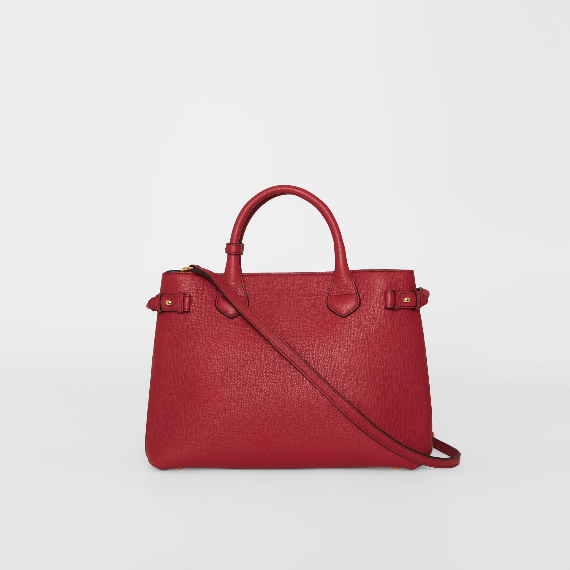 The Medium Banner in Leather and House Check in Russet Red - Women | Burberry - gallery image 7