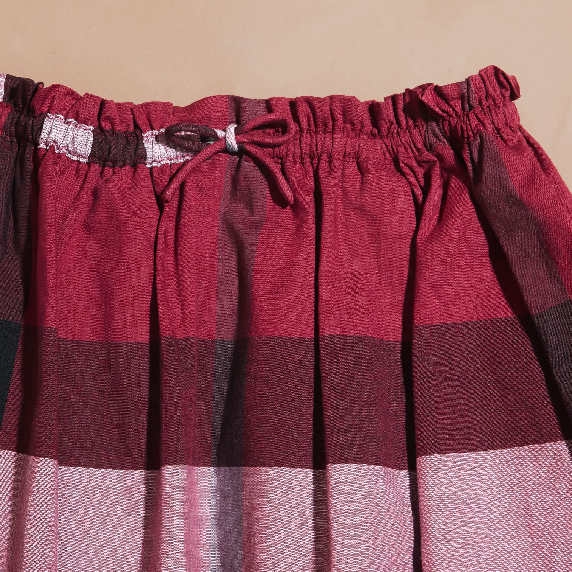 Dark plum pink Check Cotton Skirt - gallery image 2