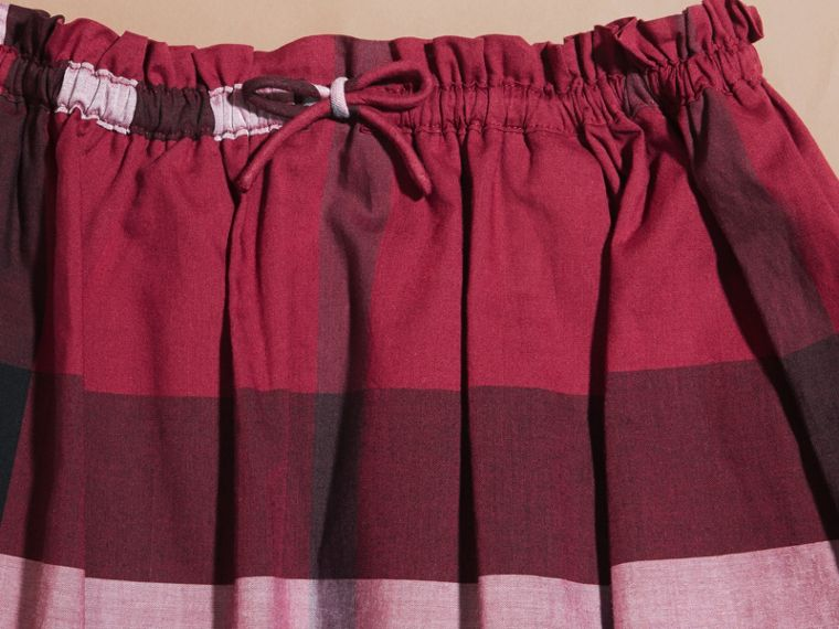 Dark plum pink Check Cotton Skirt - cell image 1