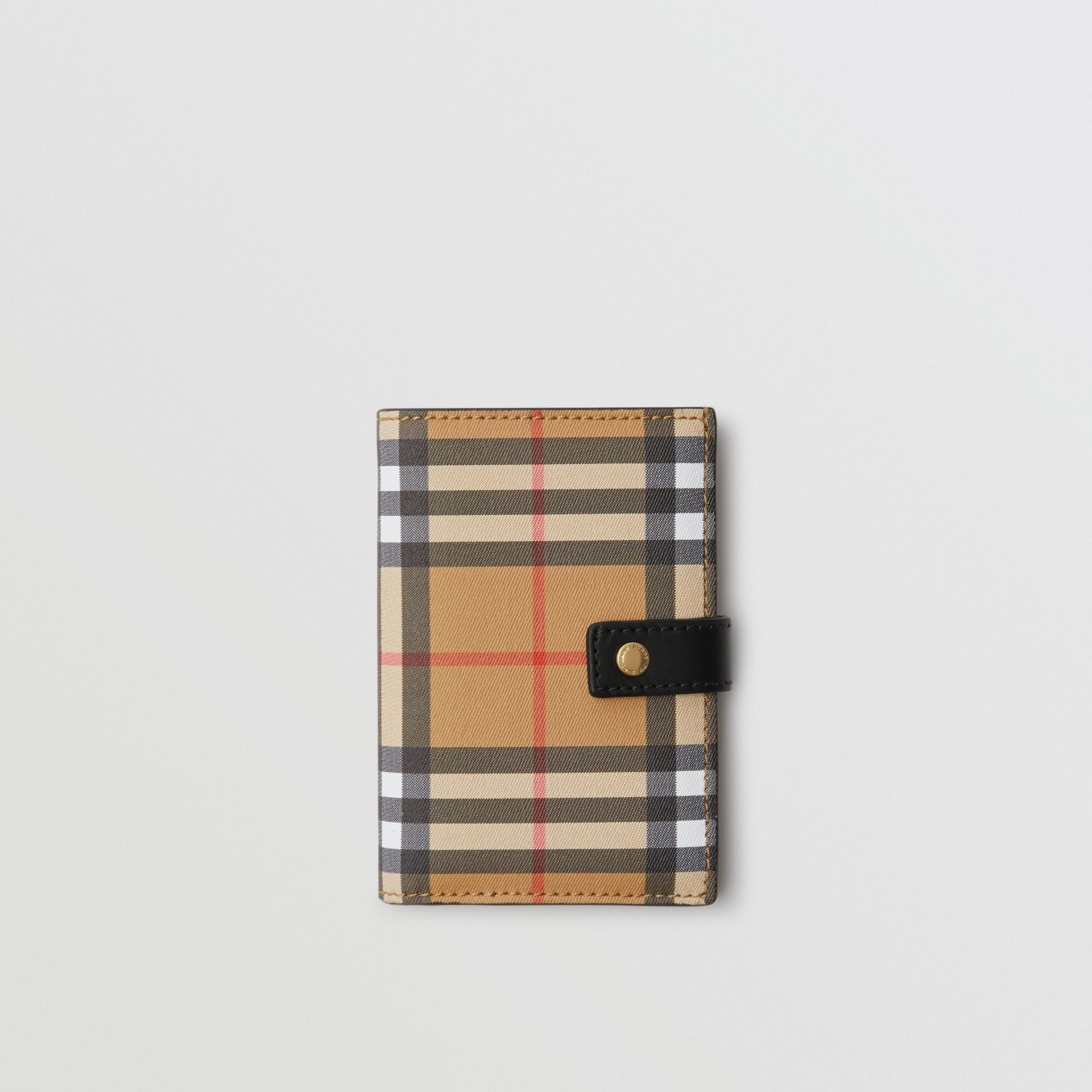 Vintage Check and Leather Folding Wallet in Black - Women | Burberry - gallery image 0