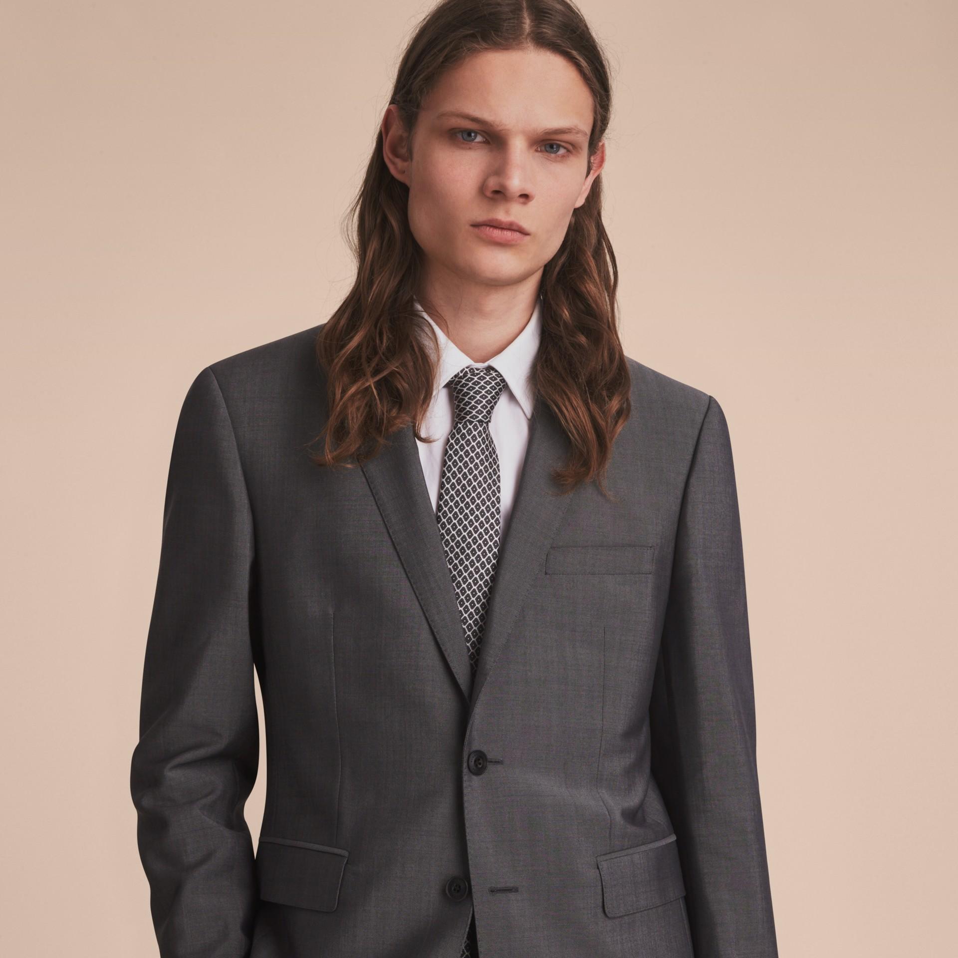 Modern Cut Silk Jacquard Tie Black - gallery image 3