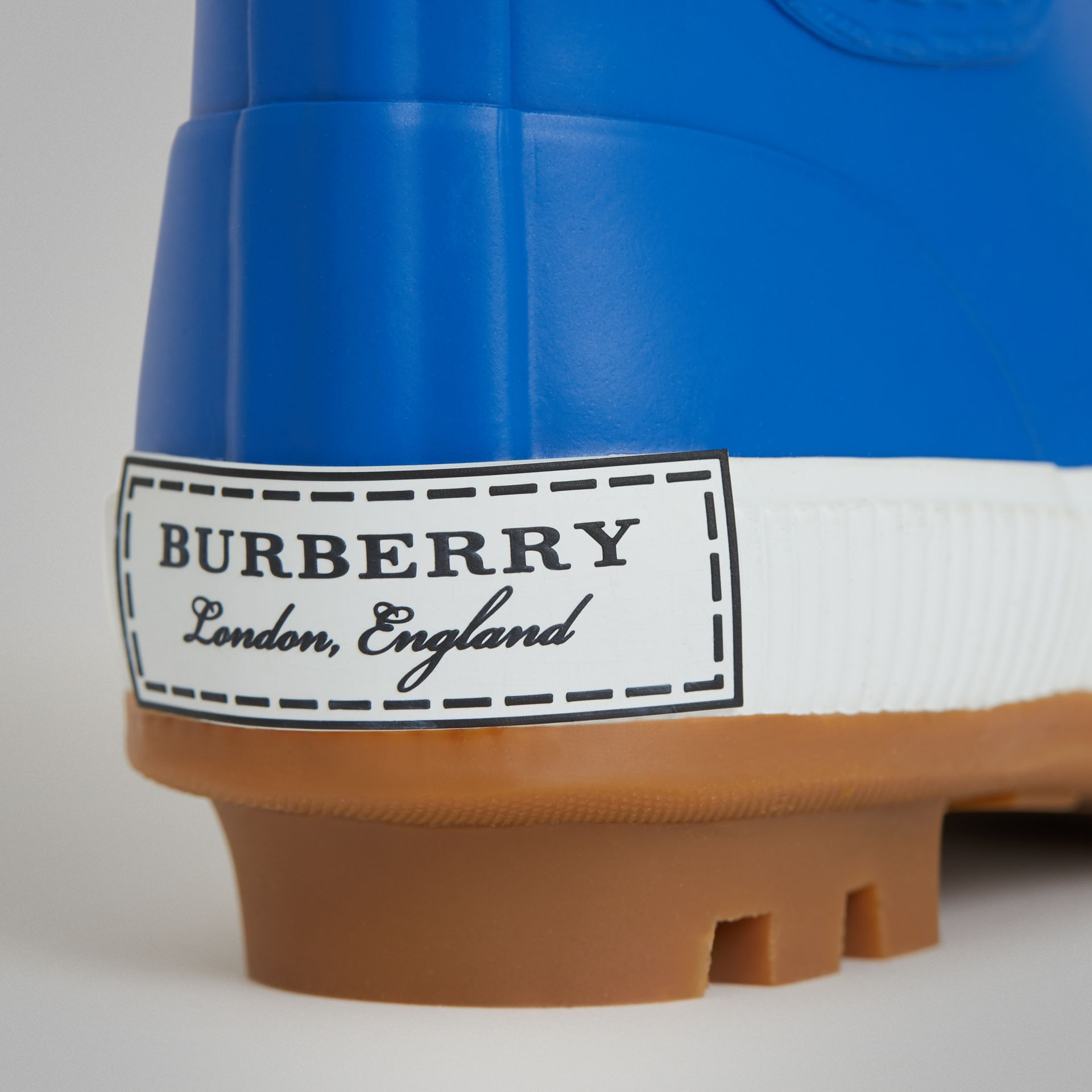 Vintage Check Neoprene and Rubber Rain Boots in Bright Canvas Blue - Children | Burberry - gallery image 1