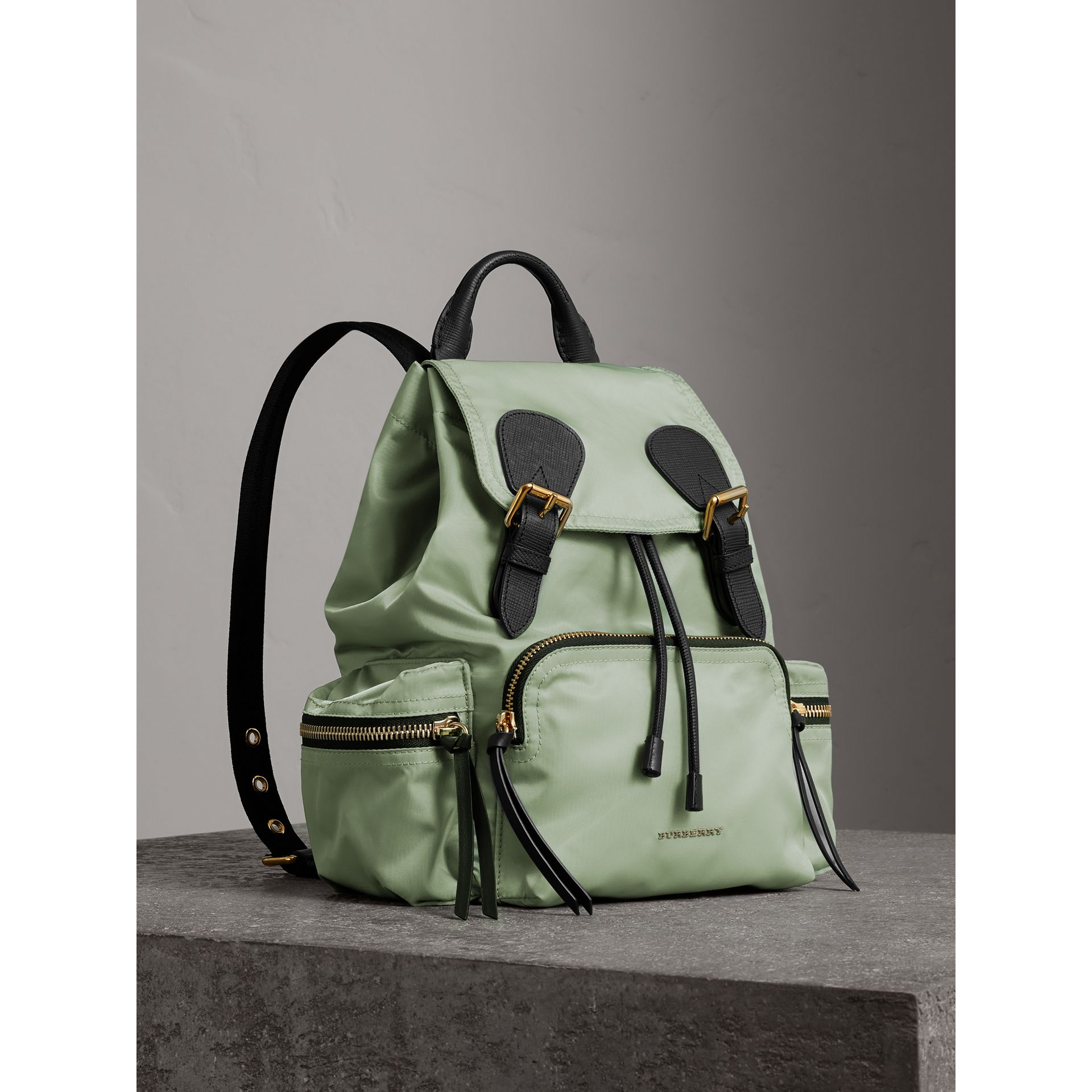 The Medium Rucksack in Technical Nylon and Leather in Apple Green - Women | Burberry United States - gallery image 1