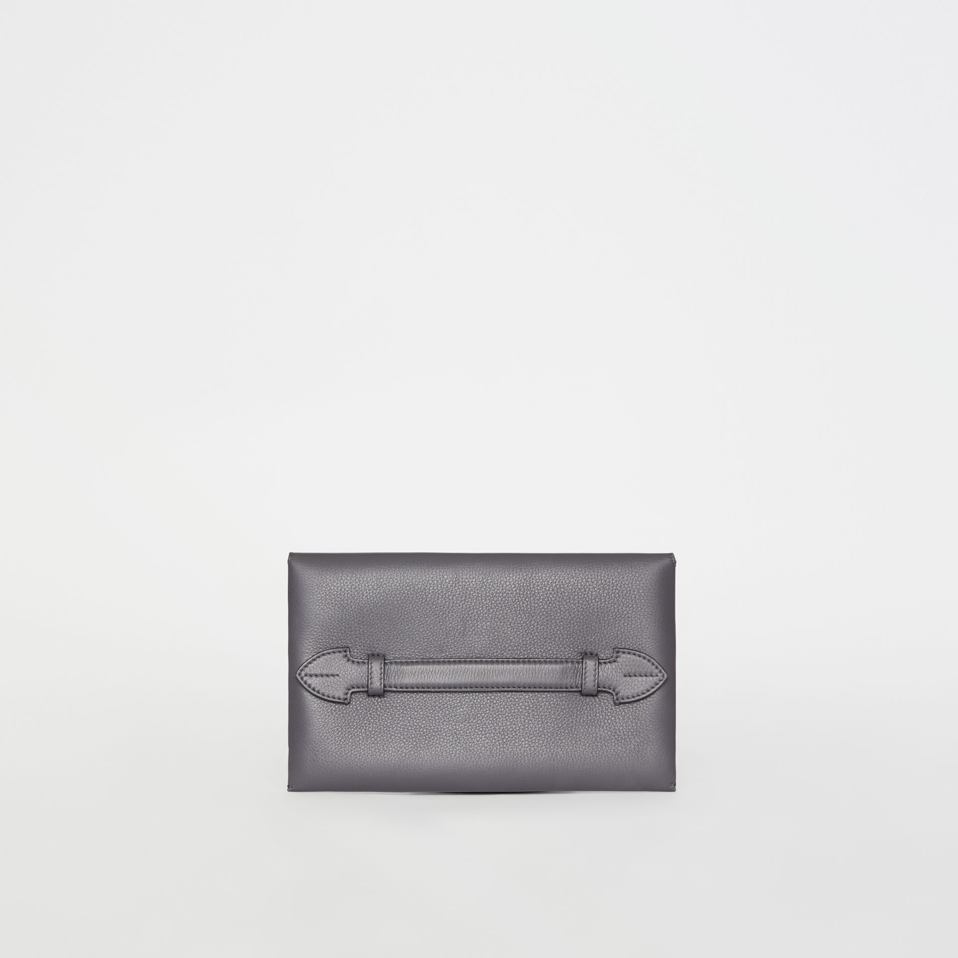 Clutch wristlet en cuir bicolore (Gris Anthracite) - Femme | Burberry - photo de la galerie 4
