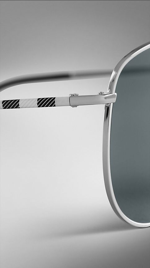 Silver Check Arm Aviator Sunglasses - Image 5