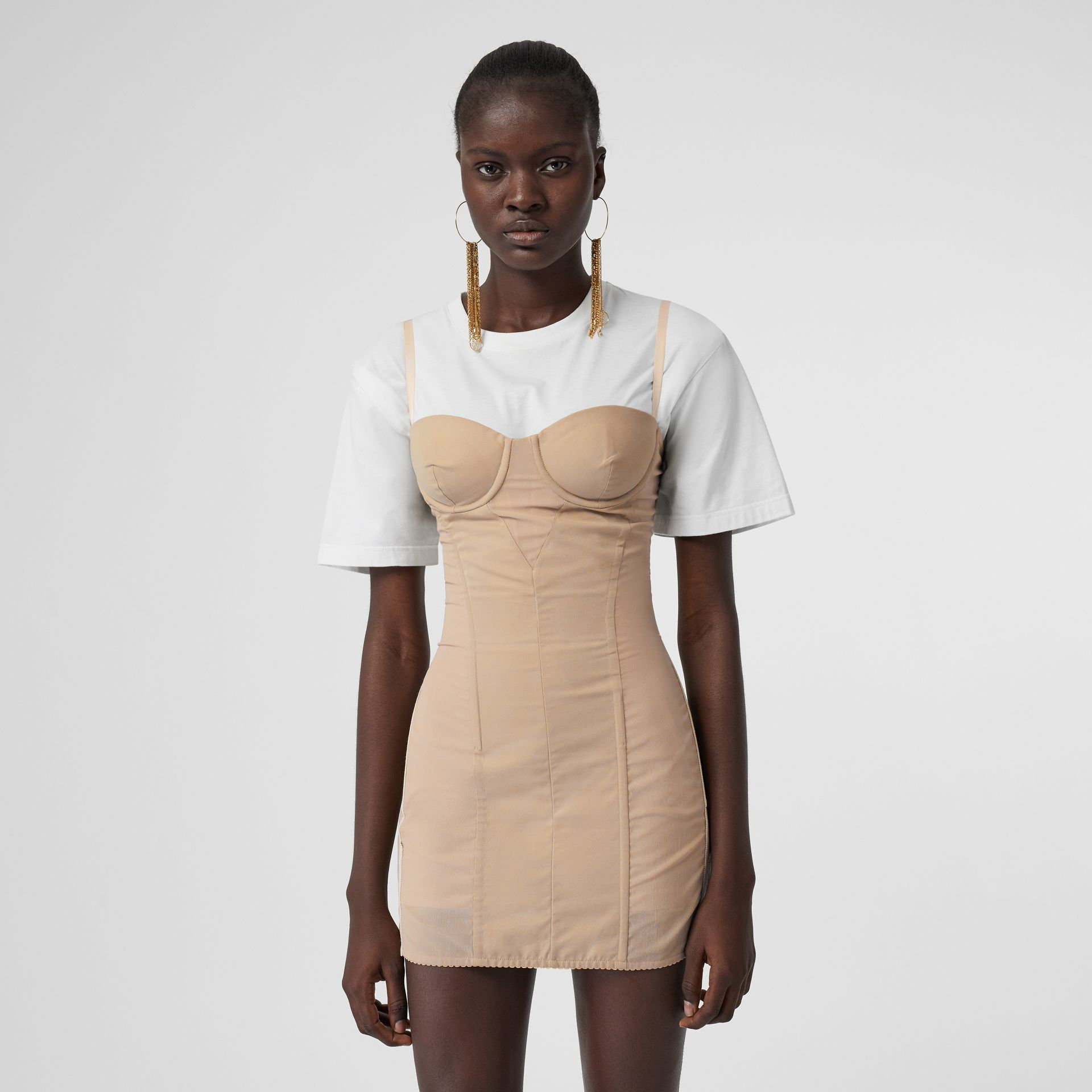 Cotton Gabardine Corset Dress in Honey - Women | Burberry - gallery image 4