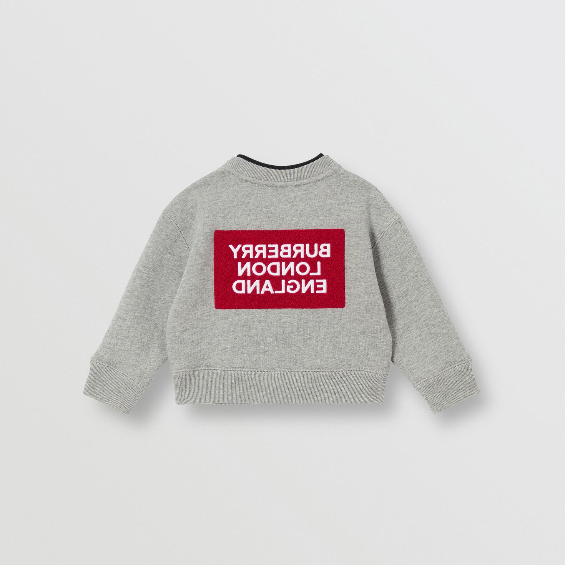 Logo Detail Jersey Sweatshirt in Grey Melange - Children | Burberry United Kingdom - gallery image 4