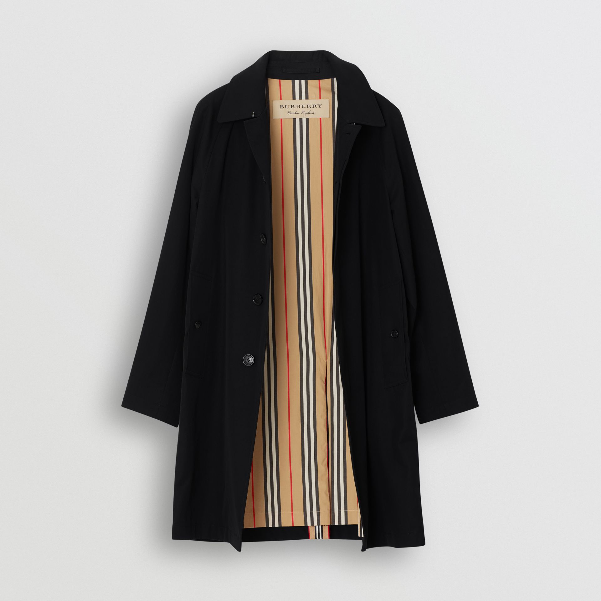 Icon Stripe Detail Tropical Gabardine Car Coat in Black - Men | Burberry - gallery image 7