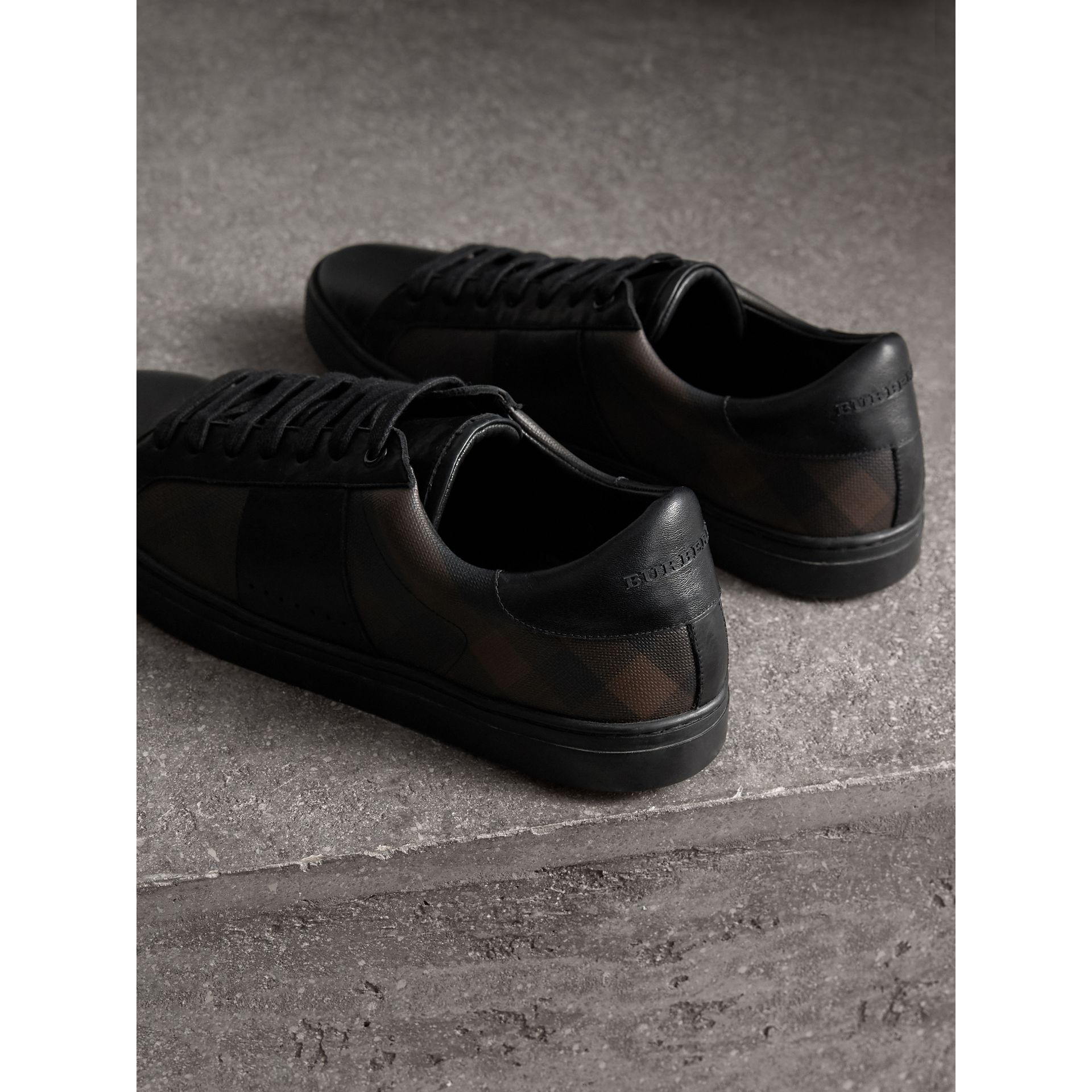 Check Detail Leather Trainers in Smoked Chocolate Chk - Men | Burberry - gallery image 3