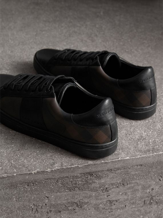 Check Detail Leather Trainers in Smoked Chocolate Chk - Men | Burberry Hong Kong - cell image 2