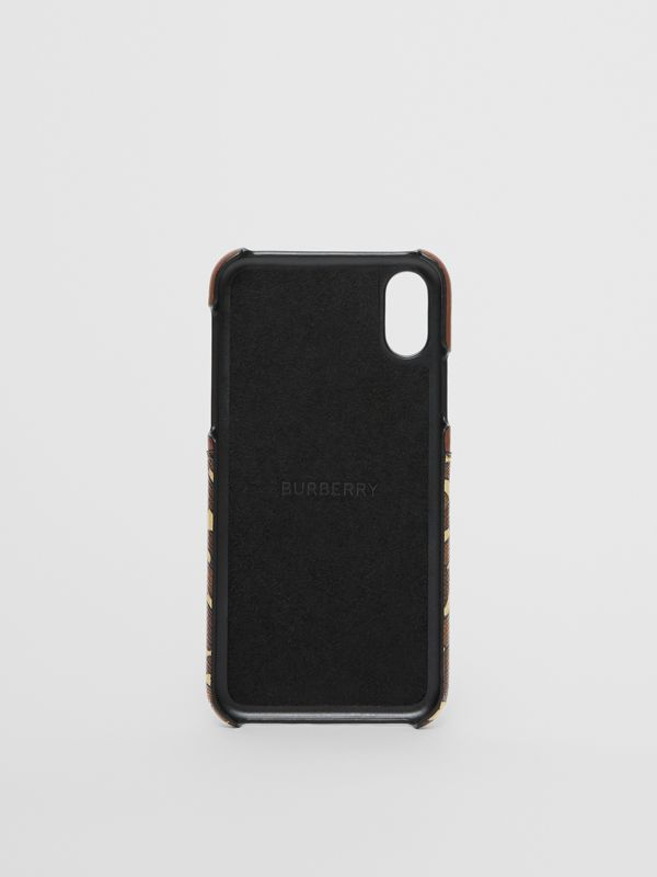 皮革及花押字條紋環保帆布 iPhone X/XS 保護套 (馬勒棕) | Burberry - cell image 3