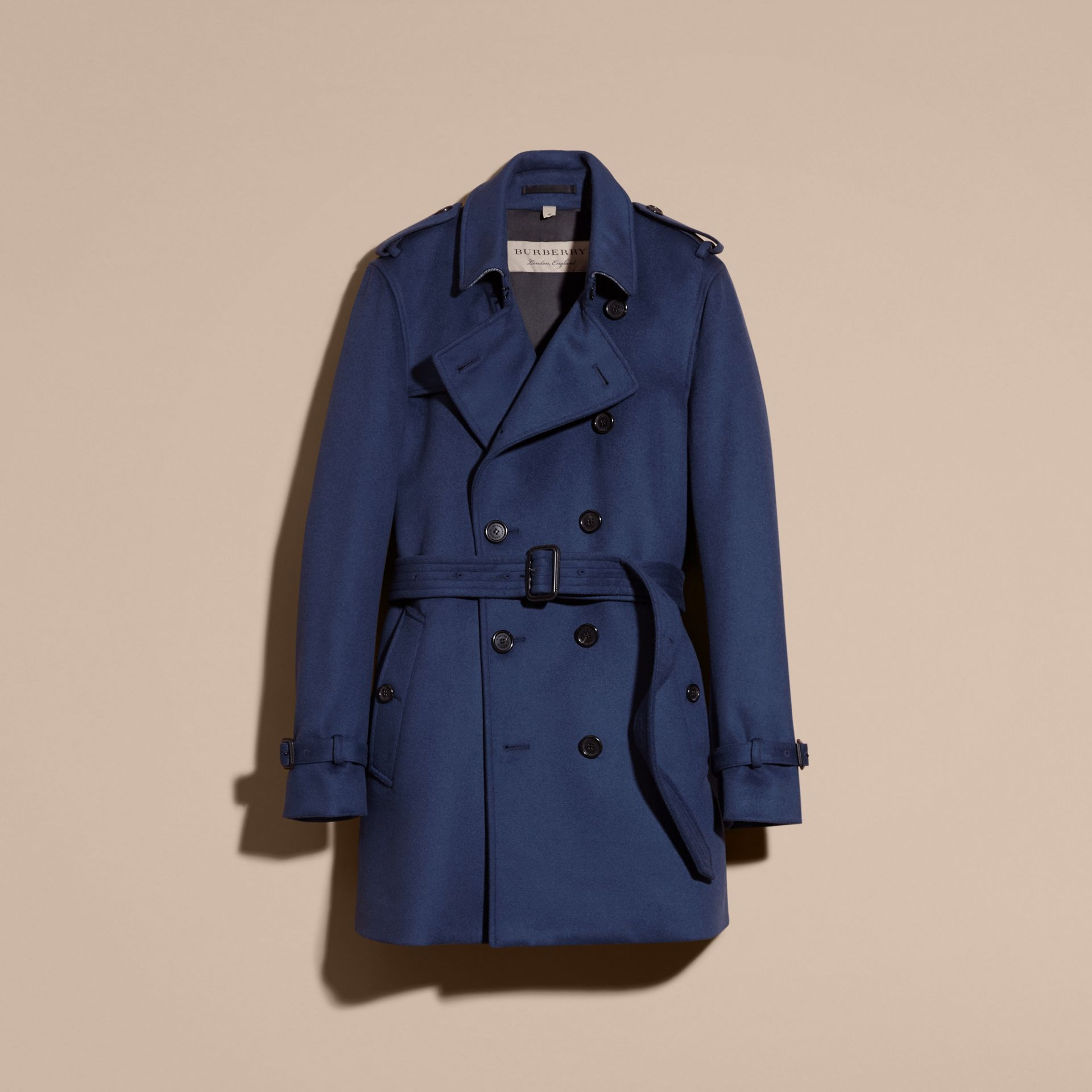 Bright steel blue Wool Cashmere Trench Coat - gallery image 4