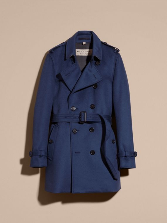 Bright steel blue Wool Cashmere Trench Coat - cell image 3