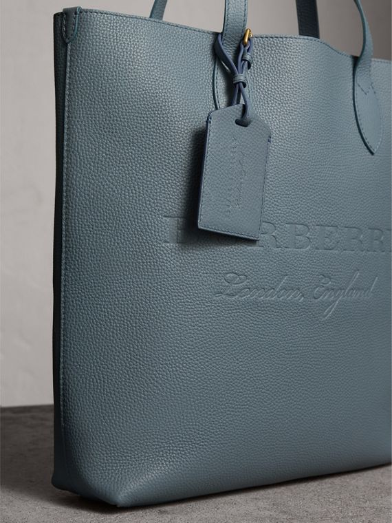 Grainy Leather Luggage Tag in Dusty Teal Blue | Burberry United States - cell image 3