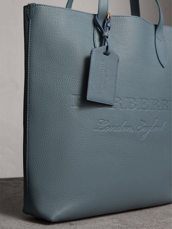 Grainy Leather Luggage Tag in Dusty Teal Blue | Burberry - cell image 3