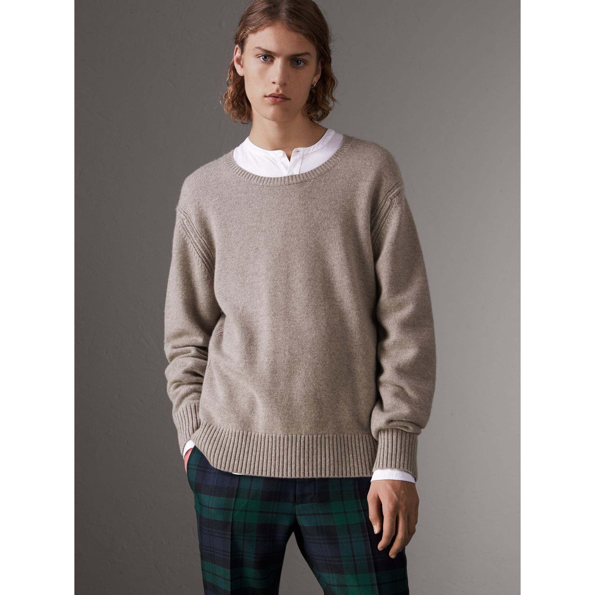 Open-knit Detail Wool Cashmere Sweater in Camel Melange - Men | Burberry United States - gallery image 5