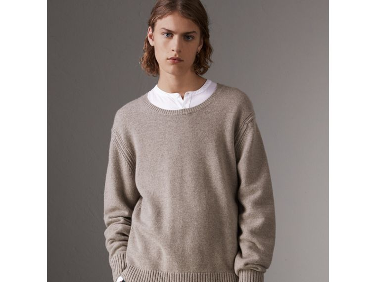 Open-knit Detail Wool Cashmere Sweater in Camel Melange - Men | Burberry United States - cell image 4