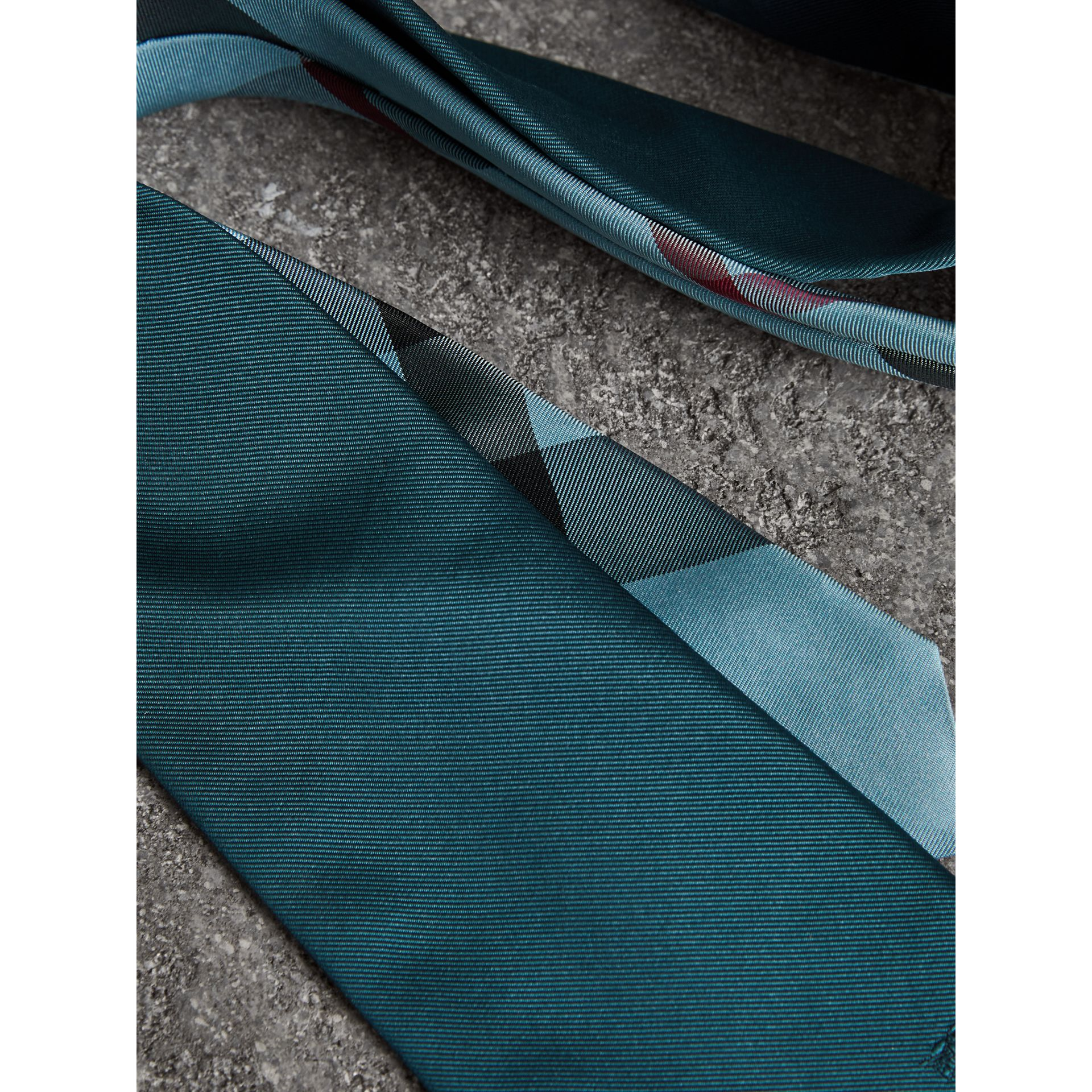 Modern Cut Check Detail Silk Tie in Mineral Blue - Men | Burberry - gallery image 1