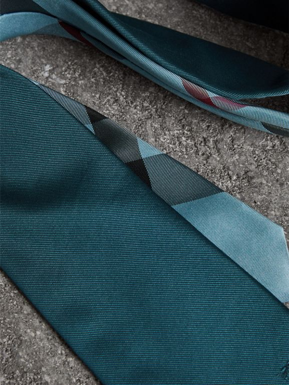 Modern Cut Check Detail Silk Tie in Mineral Blue - Men | Burberry United Kingdom - cell image 1
