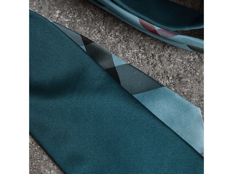 Modern Cut Check Detail Silk Tie in Mineral Blue - Men | Burberry Canada - cell image 1