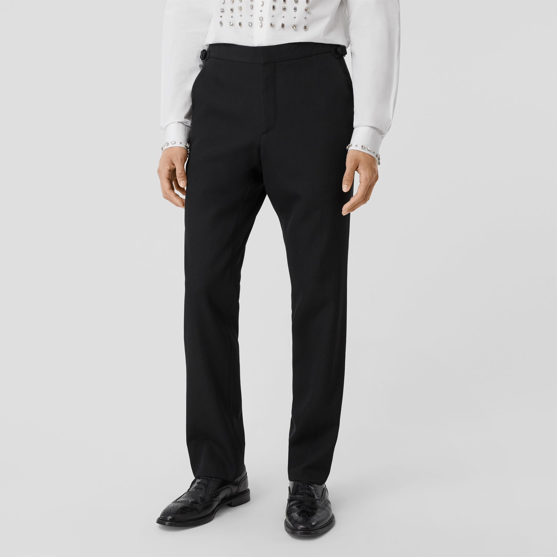 Classic Fit Silk Trim Wool Tailored Trousers in Black - Men | Burberry - gallery image 4