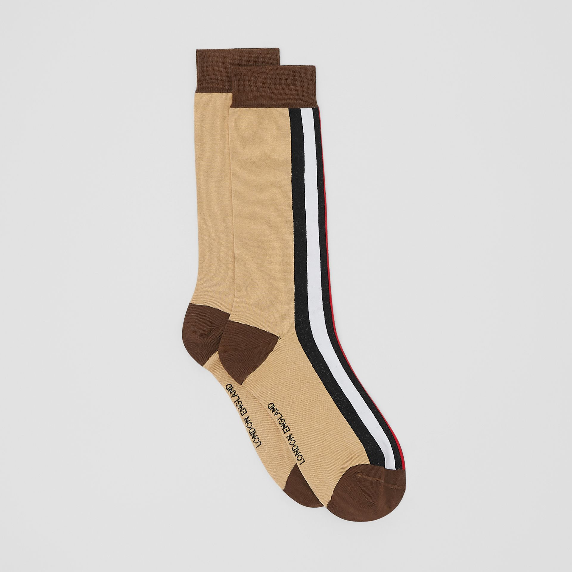 Stripe Intarsia Cotton Blend Socks in Bridle Brown | Burberry - gallery image 2