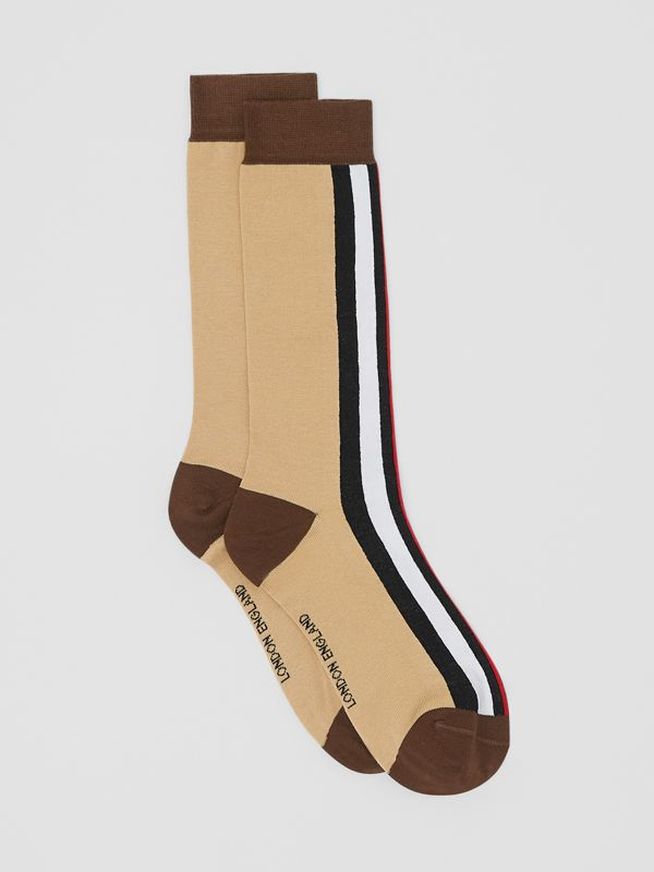 Stripe Intarsia Cotton Blend Socks in Bridle Brown | Burberry - cell image 2