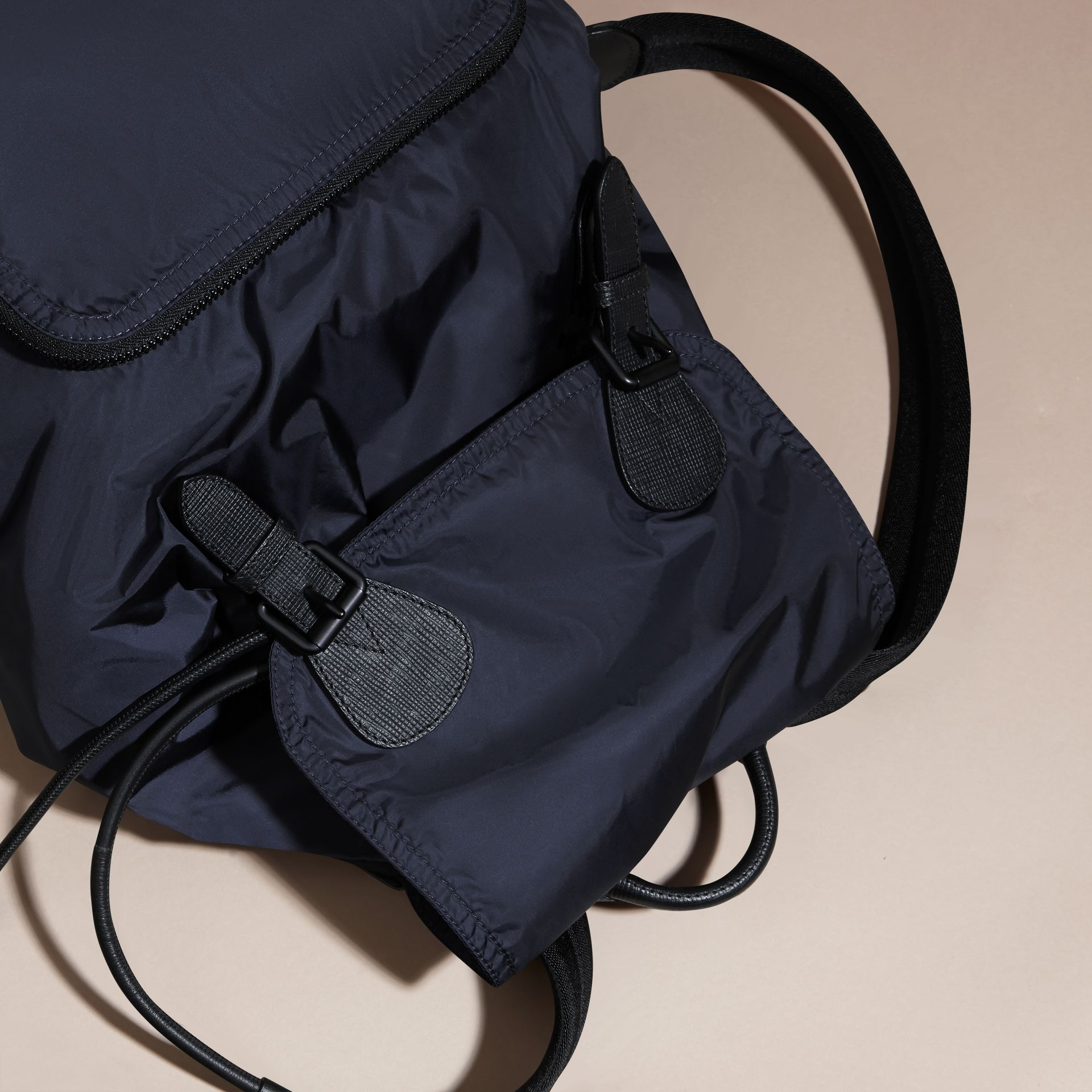 The Large Rucksack in Technical Nylon and Leather in Ink Blue | Burberry - gallery image 8