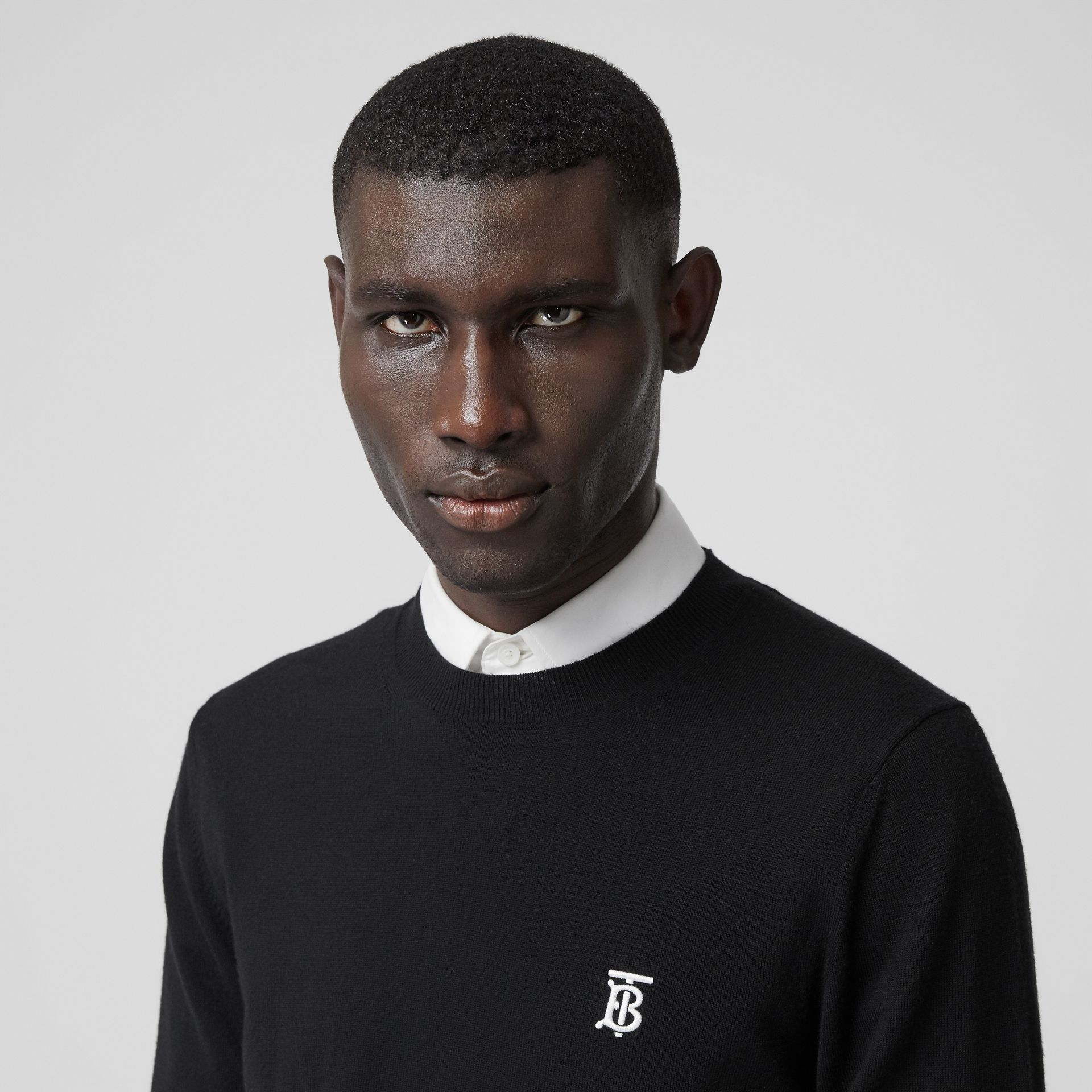 Monogram Motif Merino Wool Sweater in Black - Men | Burberry Australia - gallery image 1