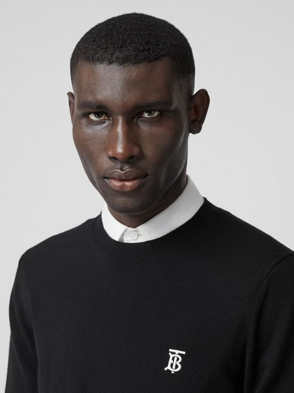 Monogram Motif Merino Wool Sweater in Black - Men | Burberry Australia - cell image 1